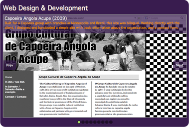 screen capture showing gallery of past web design and development work