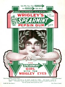 girl with wrigley eyes ad for wrigleys gum 1911