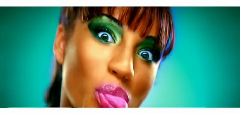 Still from Kanye West - Gold Digger showing woman with eyes wide and tongue sticking out side of mouth
