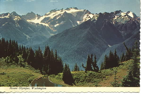 old postcard showing Mount Olympus