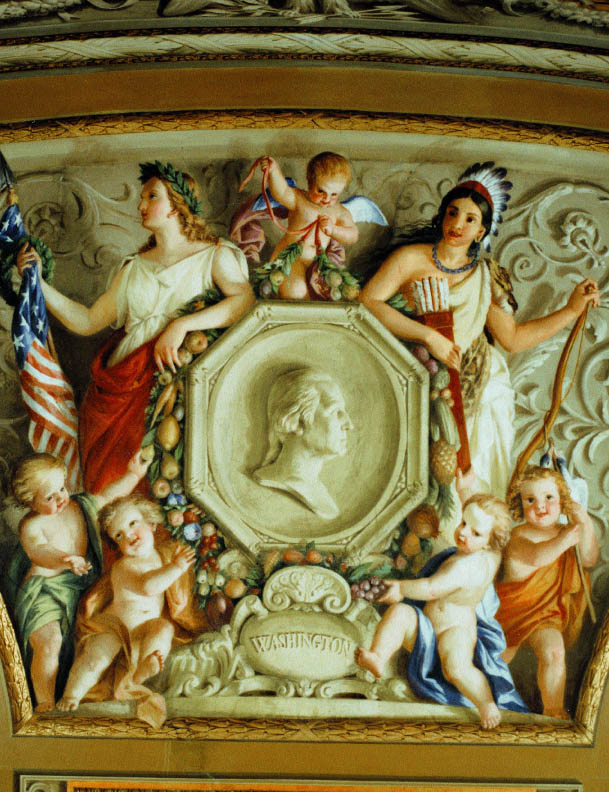 detail from White House fresco: Constantino Brumidi - Columbia and Indian Princess