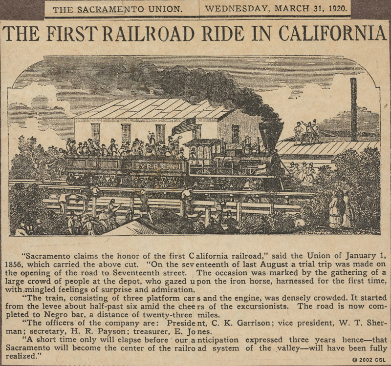 Newspapwer article about Sacramento - first train ride in Calfornia 1856