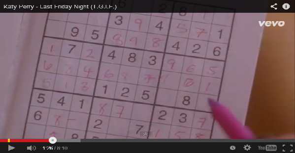 Katy Perry - Last Friday night - Sudoku