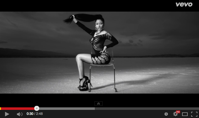 still from Lookin' Ass video: Nicki Minaj grabs her hair
