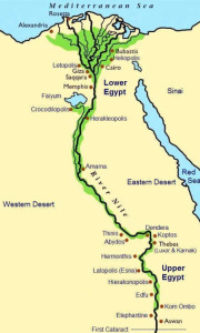 map showing upper and lower Egypt