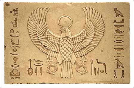 Horus as falcon with Sun disc and shen rings