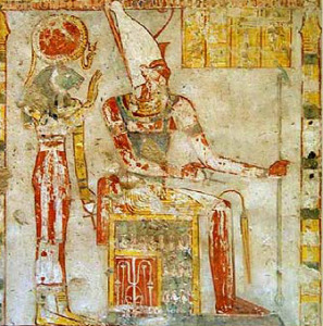 tomb painting of Atum with Sekhmet behind him