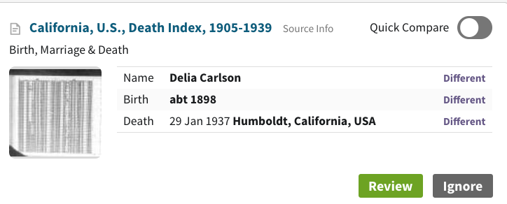 Archie Thompson's mother Delia Carlson was born in 1898 and died Jan 29 1937 of tuberculosis (birth and death date clipping from ancestry)